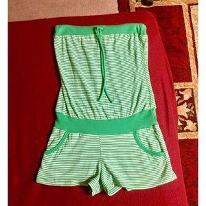 Green Striped Forever 21 Romper